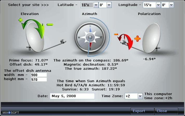 Модуль рассчета углов установки спутниковой антенны