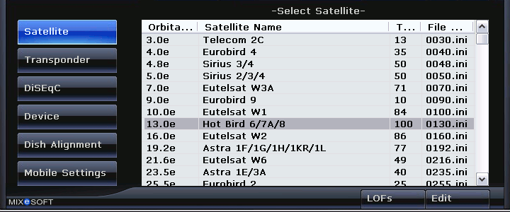 Satellite Finder Select Satellite Options