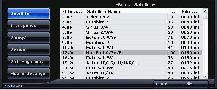 Satellite Finder Select Satellite Options